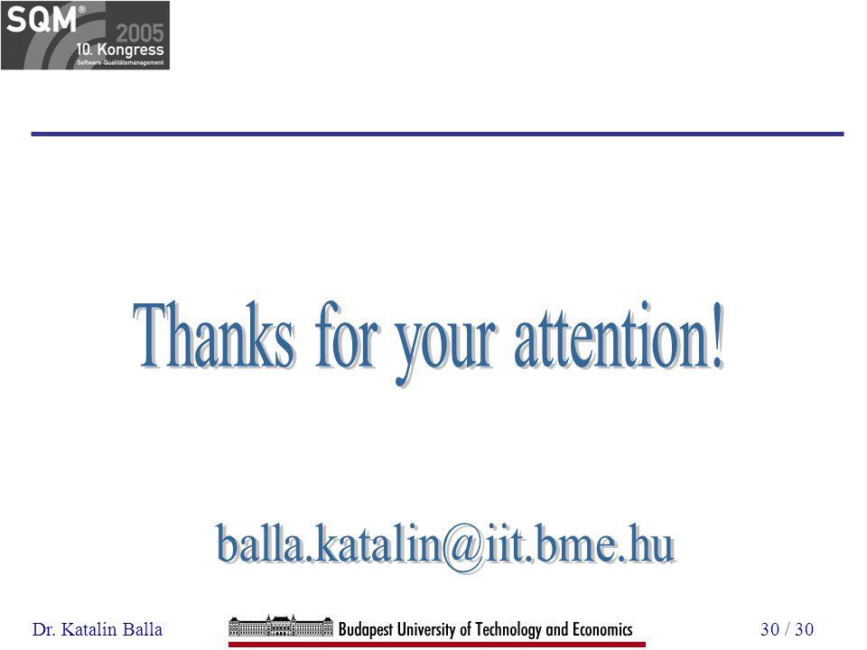 Dr. Katalin Balla30 / 30
