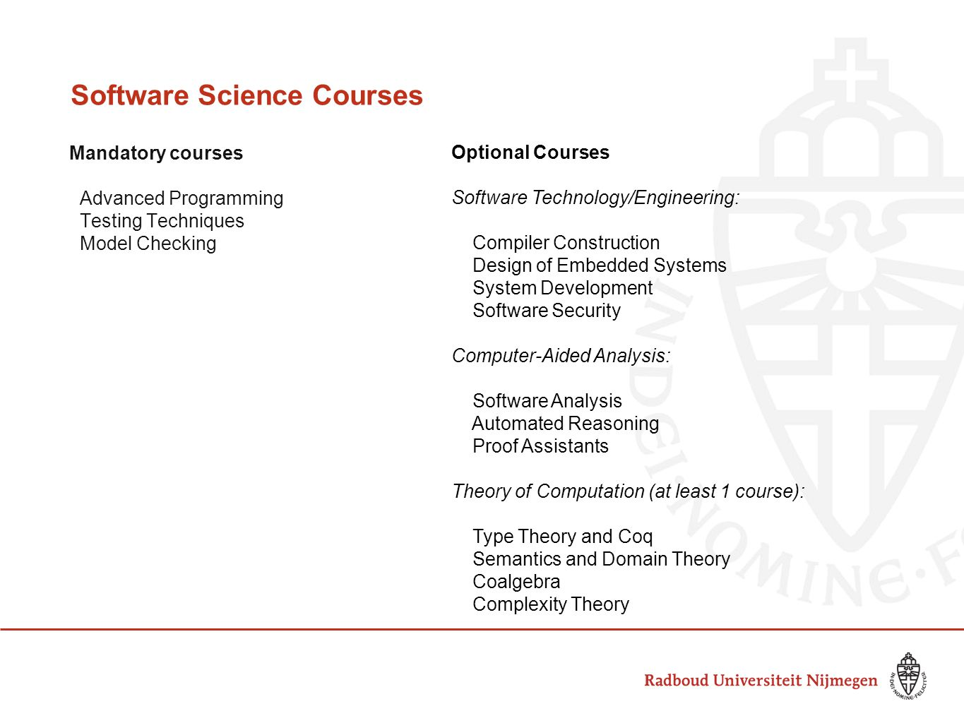 Software Science Courses Mandatory courses Advanced Programming Testing Techniques Model Checking Optional Courses Software Technology/Engineering: Compiler Construction Design of Embedded Systems System Development Software Security Computer-Aided Analysis: Software Analysis Automated Reasoning Proof Assistants Theory of Computation (at least 1 course): Type Theory and Coq Semantics and Domain Theory Coalgebra Complexity Theory