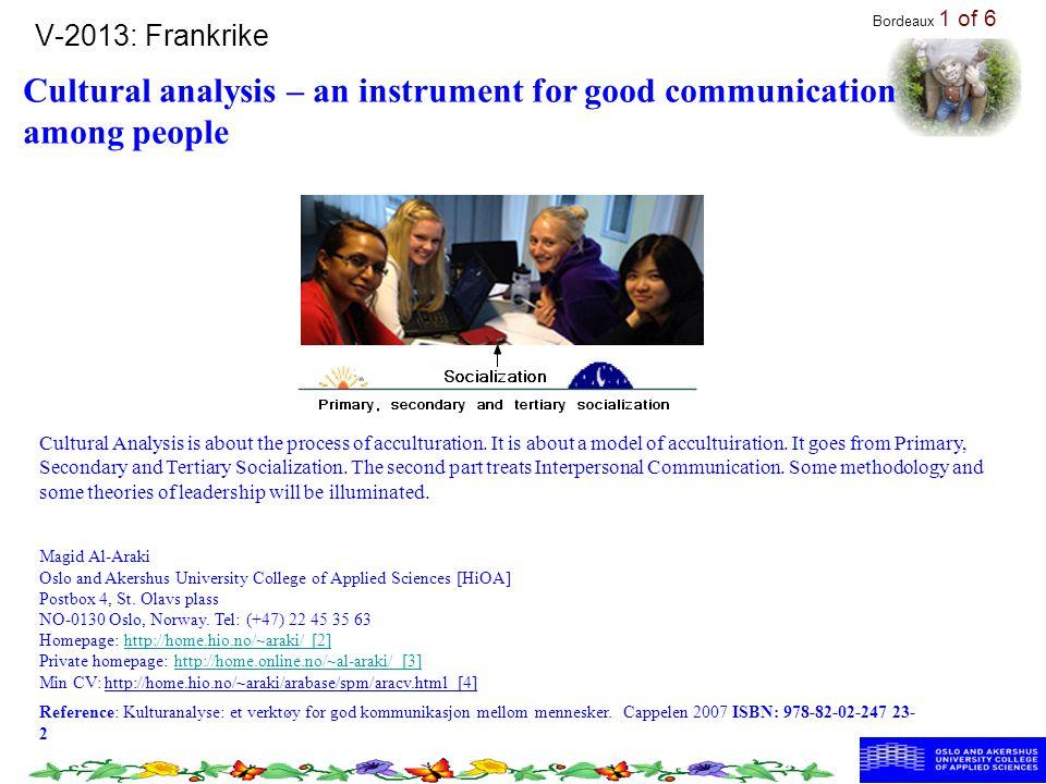 V-2013: Frankrike Cultural analysis – an instrument for good communication among people Reference: Kulturanalyse: et verktøy for god kommunikasjon mellom mennesker.