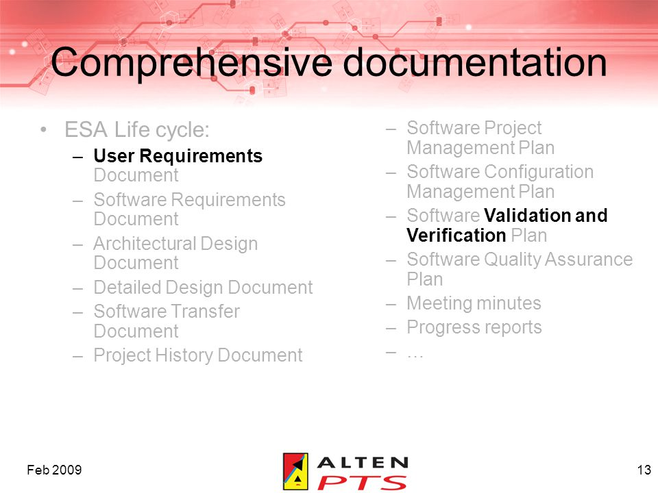 Feb 200913 Comprehensive documentation ESA Life cycle: –User Requirements Document –Software Requirements Document –Architectural Design Document –Det