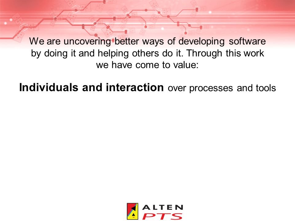 Feb 200910 Individuals and interaction Collocation Self organizing teams Pair programming Collective code ownership XP Practices: