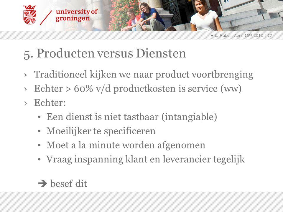 5. Producten versus Diensten ›Traditioneel kijken we naar product voortbrenging ›Echter > 60% v/d productkosten is service (ww) ›Echter: Een dienst is