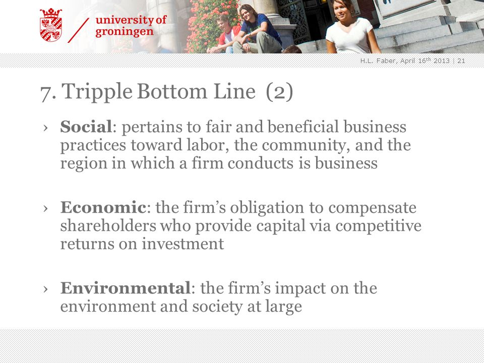 7. Tripple Bottom Line (2) | 21 ›Social: pertains to fair and beneficial business practices toward labor, the community, and the region in which a fir