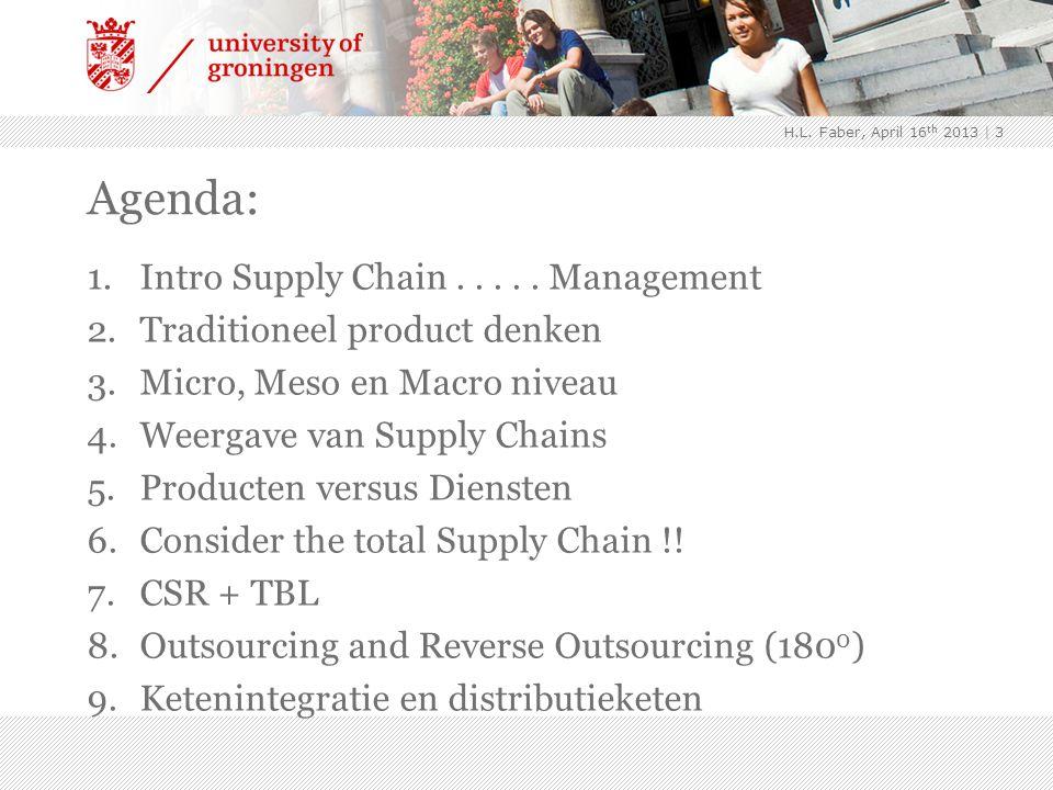 Agenda: 1.Intro Supply Chain..... Management 2.Traditioneel product denken 3.Micro, Meso en Macro niveau 4.Weergave van Supply Chains 5.Producten vers