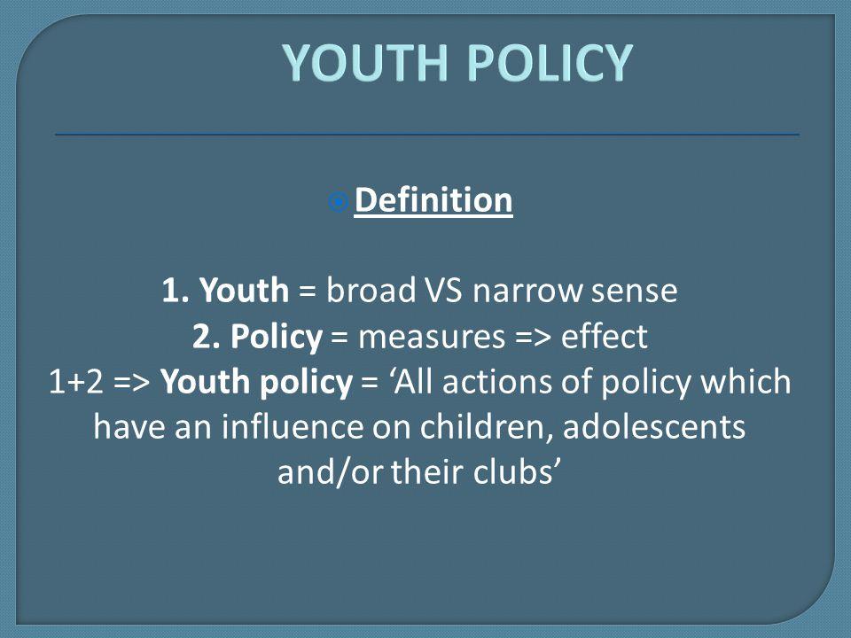  Definition 1. Youth = broad VS narrow sense 2.