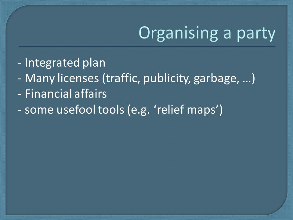 - Integrated plan - Many licenses (traffic, publicity, garbage, …) - Financial affairs - some usefool tools (e.g.