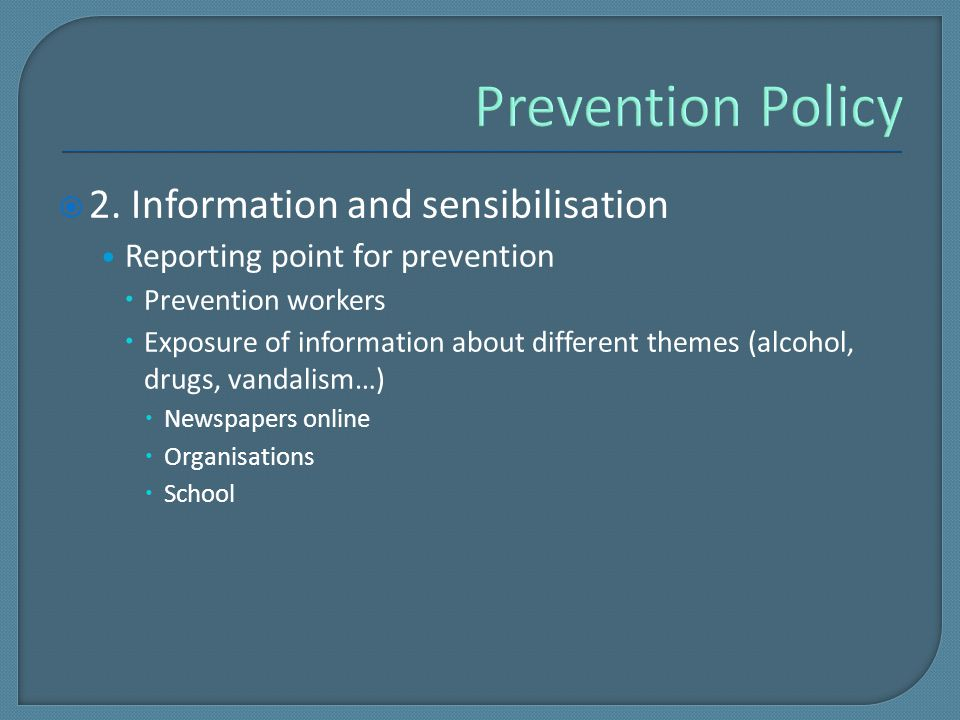  2. Information and sensibilisation Reporting point for prevention  Prevention workers  Exposure of information about different themes (alcohol, dr