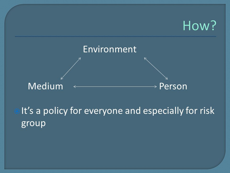 Environment Medium Person  It's a policy for everyone and especially for risk group