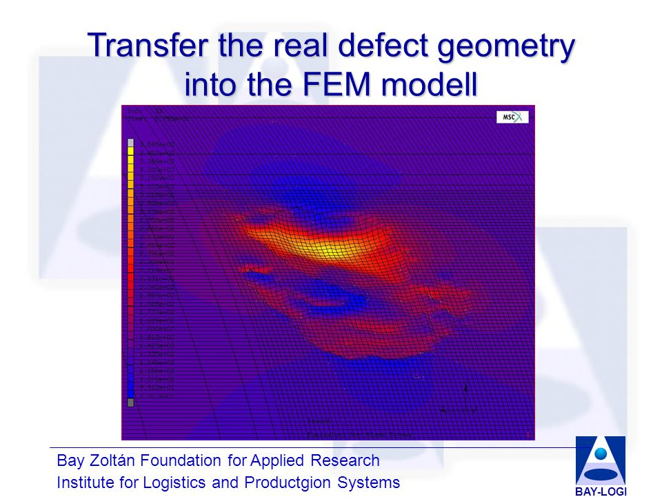 Bay Zoltán Foundation for Applied Research Institute for Logistics and Productgion Systems BAY-LOGI Development of simplified defect geometries Parabolic modellRectangular modell6th order surface modell
