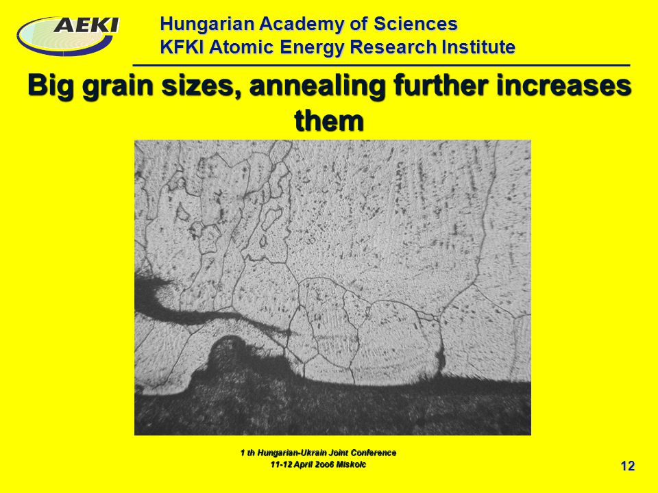 Hungarian Academy of Sciences KFKI Atomic Energy Research Institute 12 Big grain sizes, annealing further increases them 1 th Hungarian-Ukrain Joint Conference 11-12 April 2oo6 Miskolc