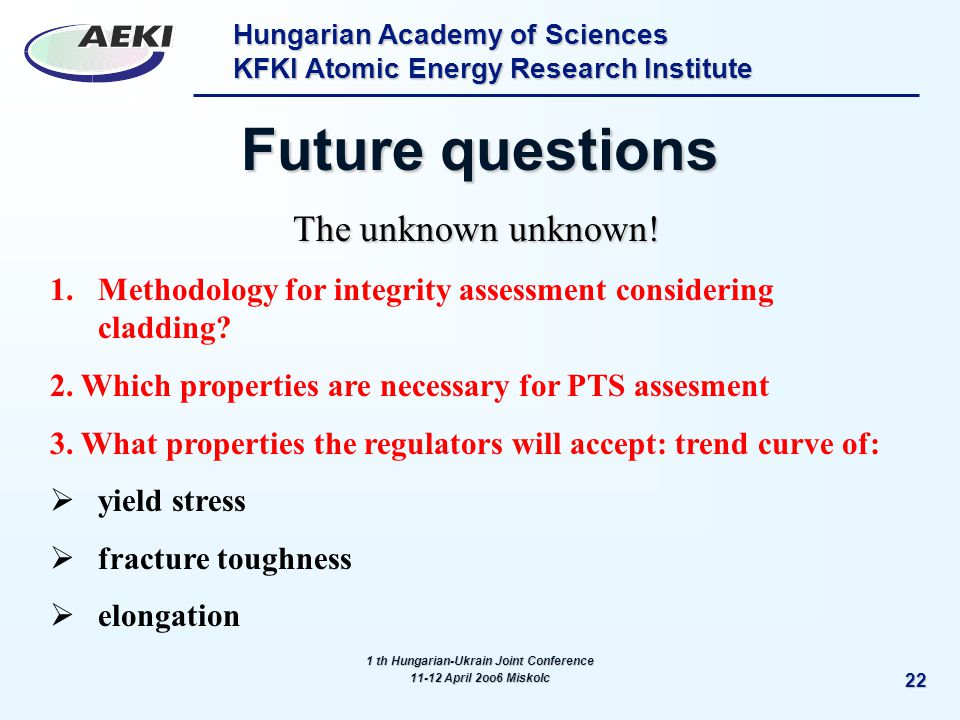 Hungarian Academy of Sciences KFKI Atomic Energy Research Institute 22 Future questions The unknown unknown.