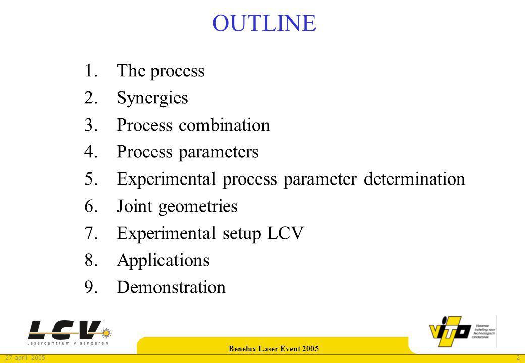 327 april 2005 Benelux Laser Event 2005 The process