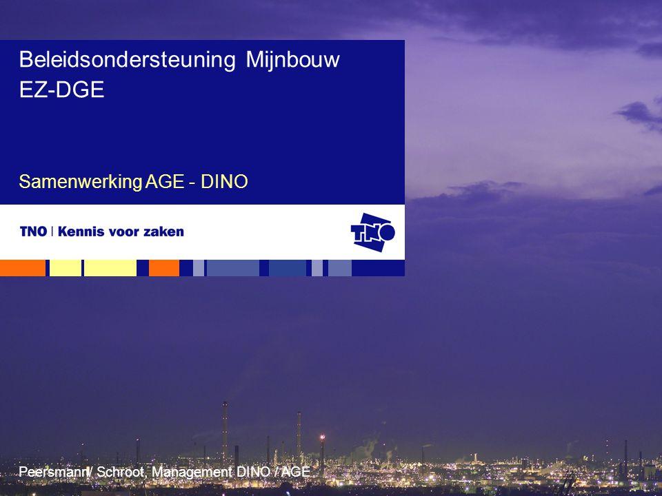 Peersmann/ Schroot, Management DINO / AGE Samenwerking AGE - DINO Beleidsondersteuning Mijnbouw EZ-DGE