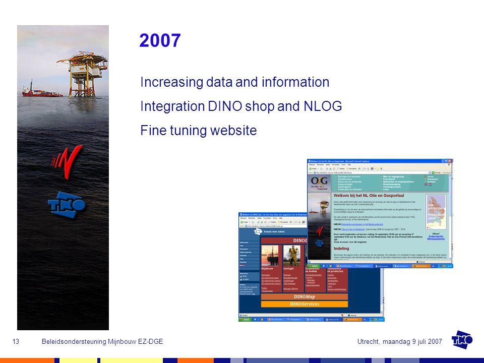 Utrecht, maandag 9 juli 2007Beleidsondersteuning Mijnbouw EZ-DGE13 2007 Increasing data and information Integration DINO shop and NLOG Fine tuning website