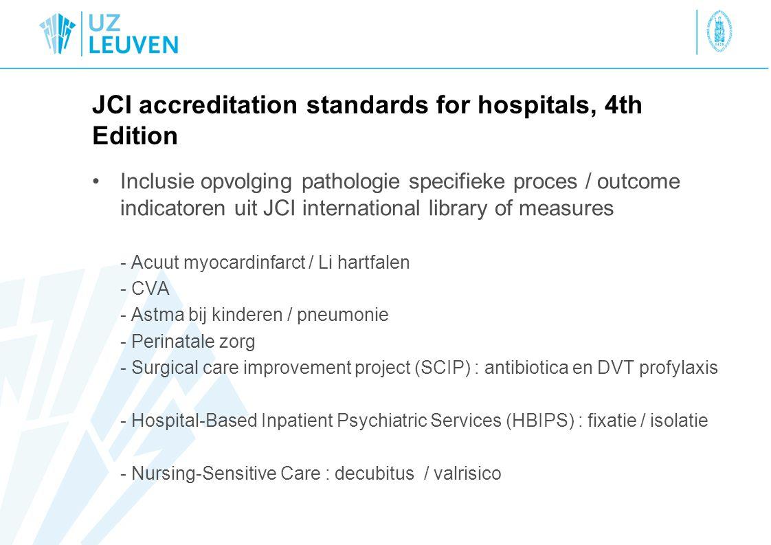 JCI accreditation standards for hospitals, 4th Edition Inclusie opvolging pathologie specifieke proces / outcome indicatoren uit JCI international library of measures - Acuut myocardinfarct / Li hartfalen - CVA - Astma bij kinderen / pneumonie - Perinatale zorg - Surgical care improvement project (SCIP) : antibiotica en DVT profylaxis - Hospital-Based Inpatient Psychiatric Services (HBIPS) : fixatie / isolatie - Nursing-Sensitive Care : decubitus / valrisico