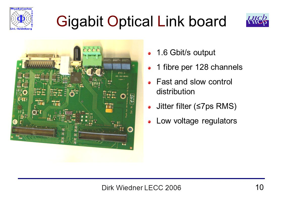 10 Dirk Wiedner LECC 2006 Gigabit Optical Link board 1.6 Gbit/s output 1 fibre per 128 channels Fast and slow control distribution Jitter filter (≤7ps RMS) Low voltage regulators