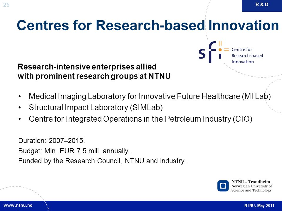 25 NTNU, May 2011 Centres for Research-based Innovation Medical Imaging Laboratory for Innovative Future Healthcare (MI Lab) Structural Impact Laborat