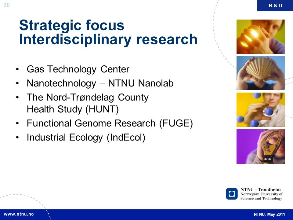 30 NTNU, May 2011 Strategic focus Interdisciplinary research Gas Technology Center Nanotechnology – NTNU Nanolab The Nord-Trøndelag County Health Stud