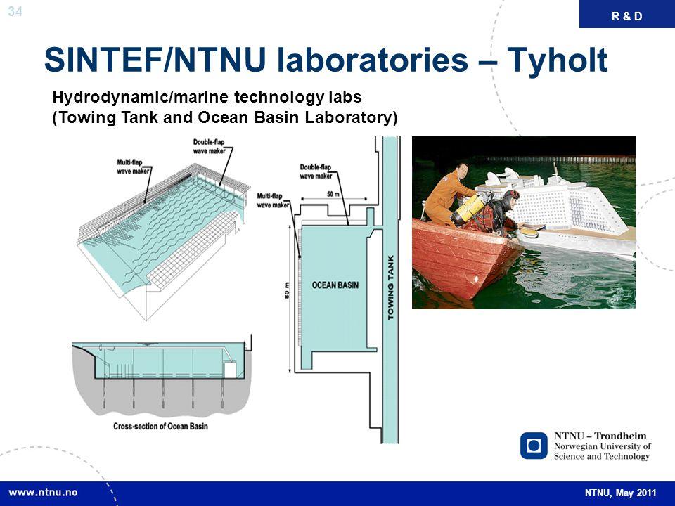 34 NTNU, May 2011 SINTEF/NTNU laboratories – Tyholt FAKTAR & D Hydrodynamic/marine technology labs (Towing Tank and Ocean Basin Laboratory)