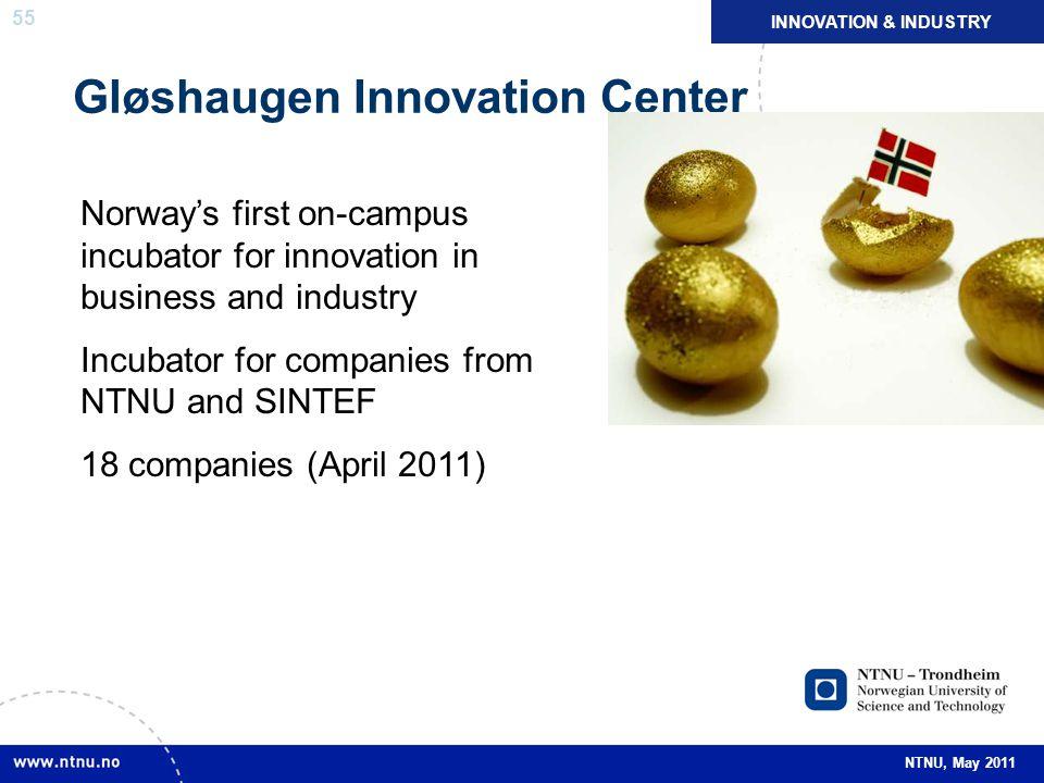 55 NTNU, May 2011 Gløshaugen Innovation Center NÆRINGSLIV OG NYSKAPING INNOVATION & INDUSTRY Norway's first on-campus incubator for innovation in busi