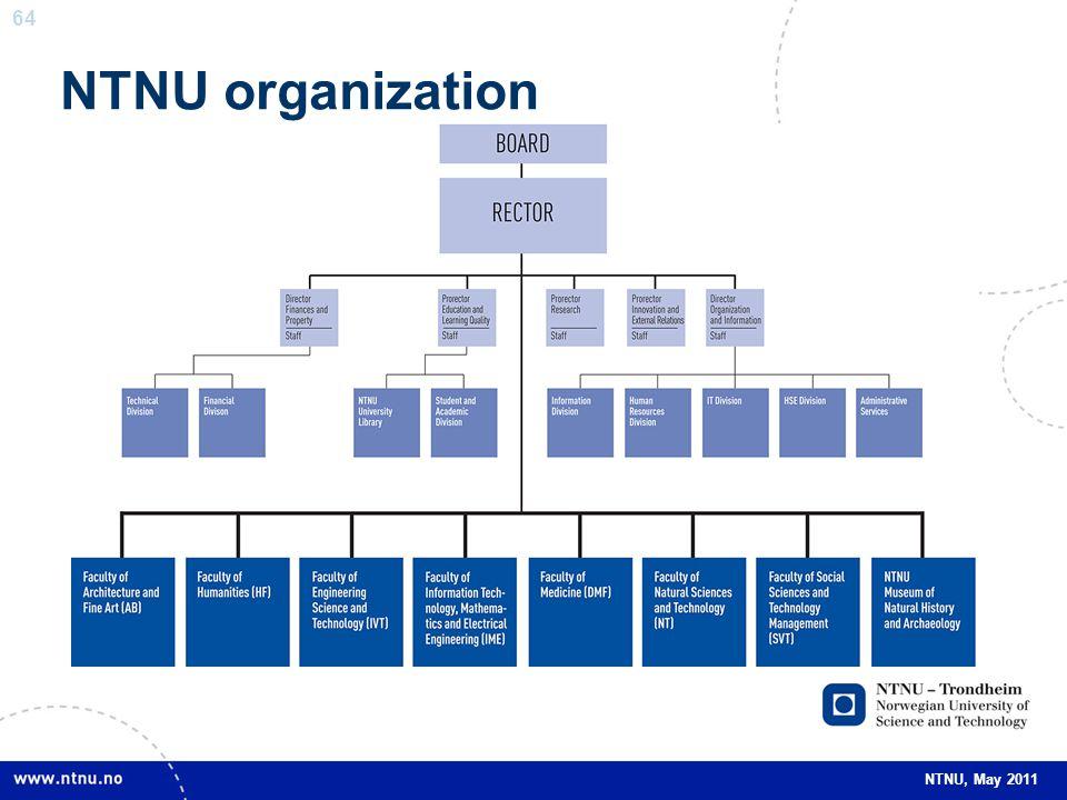 64 NTNU, May 2011 NTNU organization