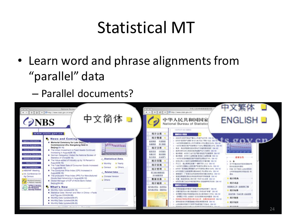 Statistical MT Learn word and phrase alignments from parallel data – Parallel documents? 24