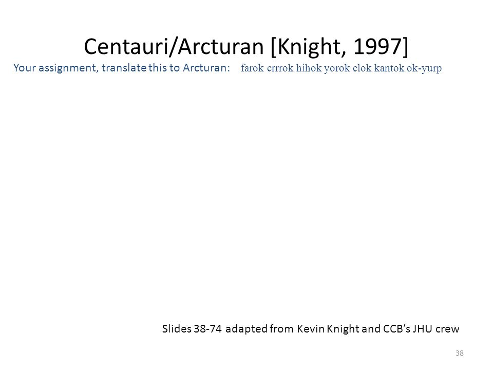 Centauri/Arcturan [Knight, 1997] Your assignment, translate this to Arcturan: farok crrrok hihok yorok clok kantok ok-yurp 38 Slides 38-74 adapted from Kevin Knight and CCB's JHU crew
