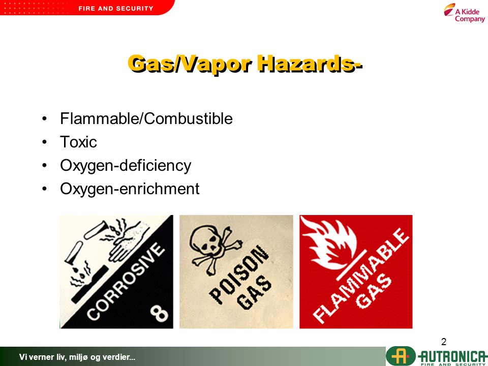 Vi verner liv, miljø og verdier... 2 Gas/Vapor Hazards- Flammable/Combustible Toxic Oxygen-deficiency Oxygen-enrichment