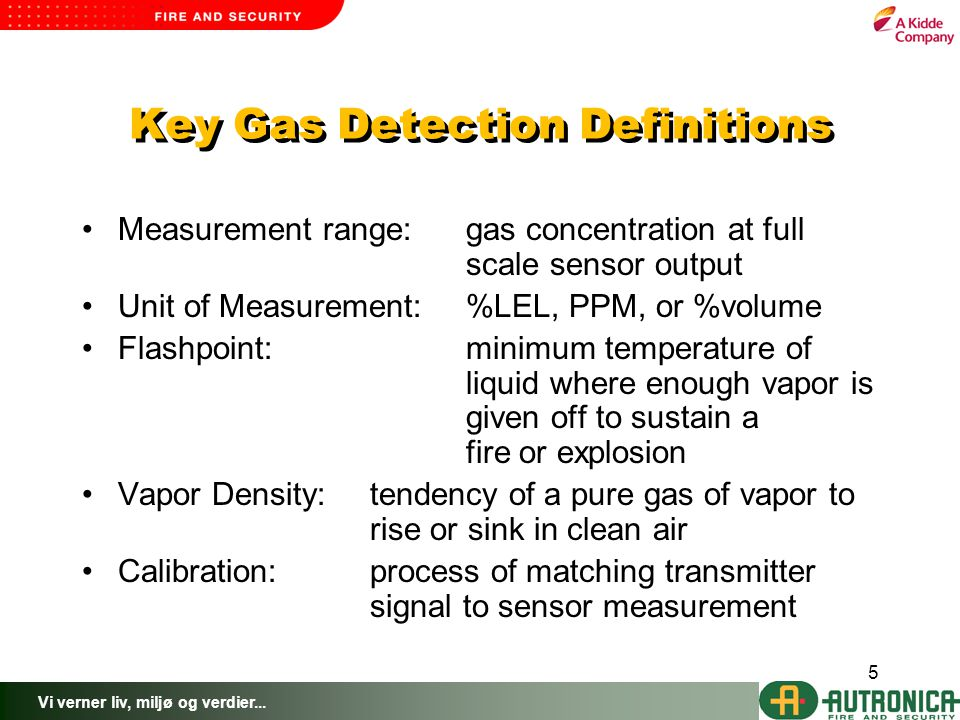 Vi verner liv, miljø og verdier... 5 Key Gas Detection Definitions Measurement range:gas concentration at full scale sensor output Unit of Measurement
