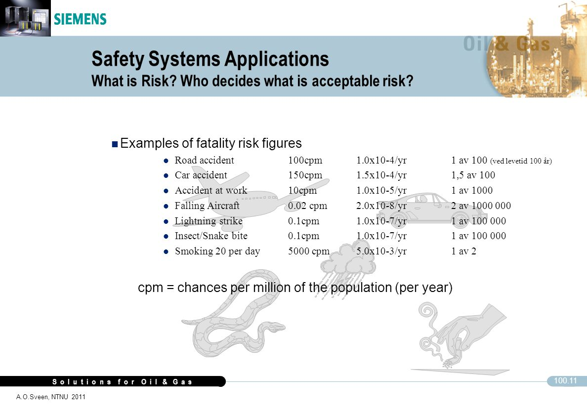 S o l u t i o n s f o r O i l & G a s 100.11 A.O.Sveen, NTNU 2011 Safety Systems Applications What is Risk? Who decides what is acceptable risk? n Exa