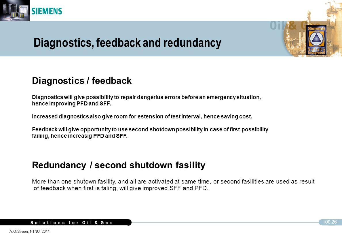 S o l u t i o n s f o r O i l & G a s 100.26 A.O.Sveen, NTNU 2011 Diagnostics / feedback Diagnostics will give possibility to repair dangerius errors