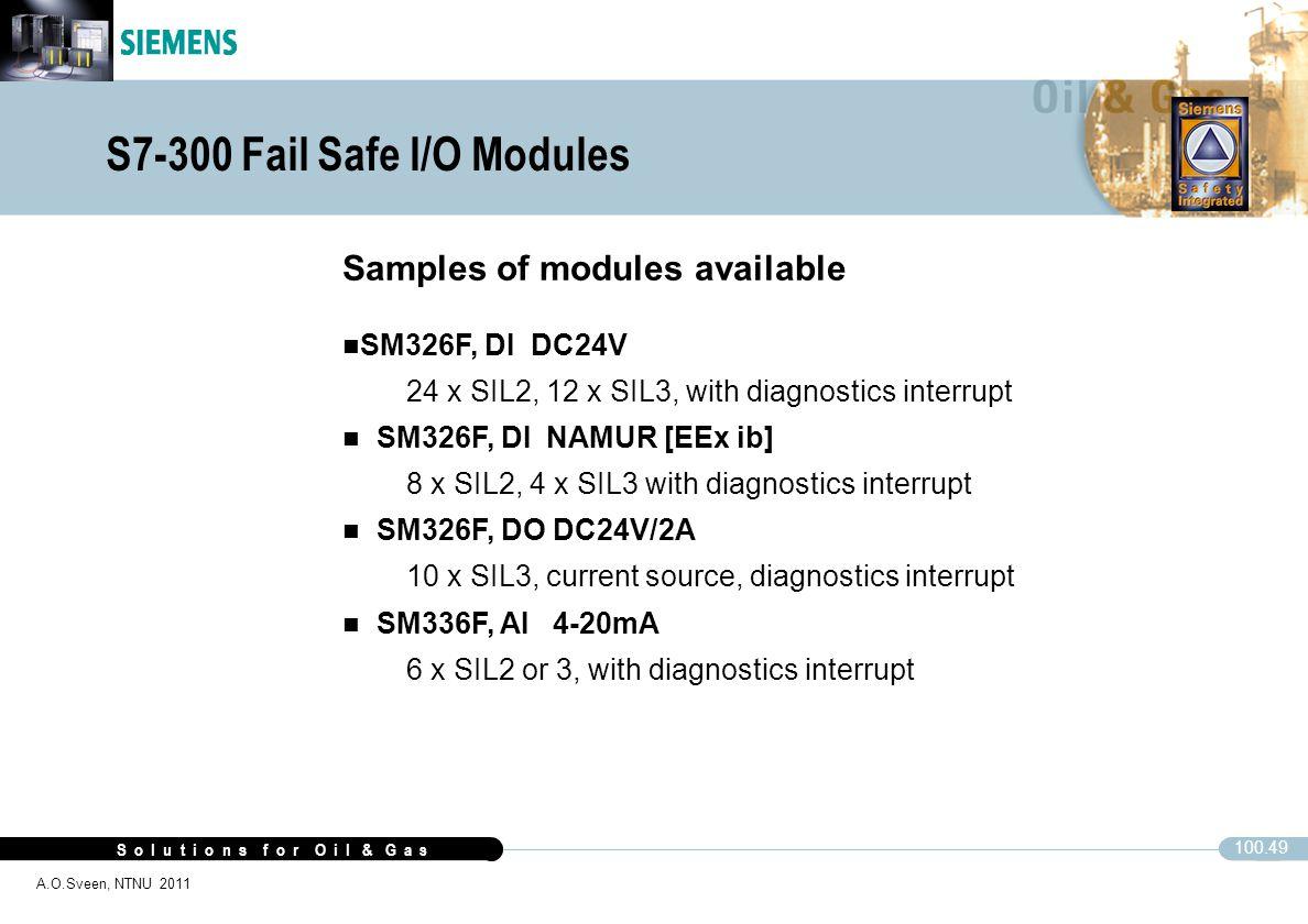 S o l u t i o n s f o r O i l & G a s 100.49 A.O.Sveen, NTNU 2011 S7-300 Fail Safe I/O Modules Samples of modules available SM326F, DI DC24V 24 x SIL2