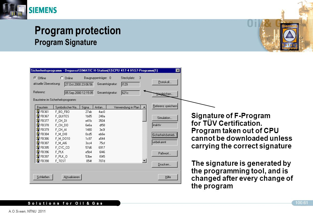 S o l u t i o n s f o r O i l & G a s 100.61 A.O.Sveen, NTNU 2011 Program protection Program Signature CFC Signature of F-Program for TÜV Certificatio