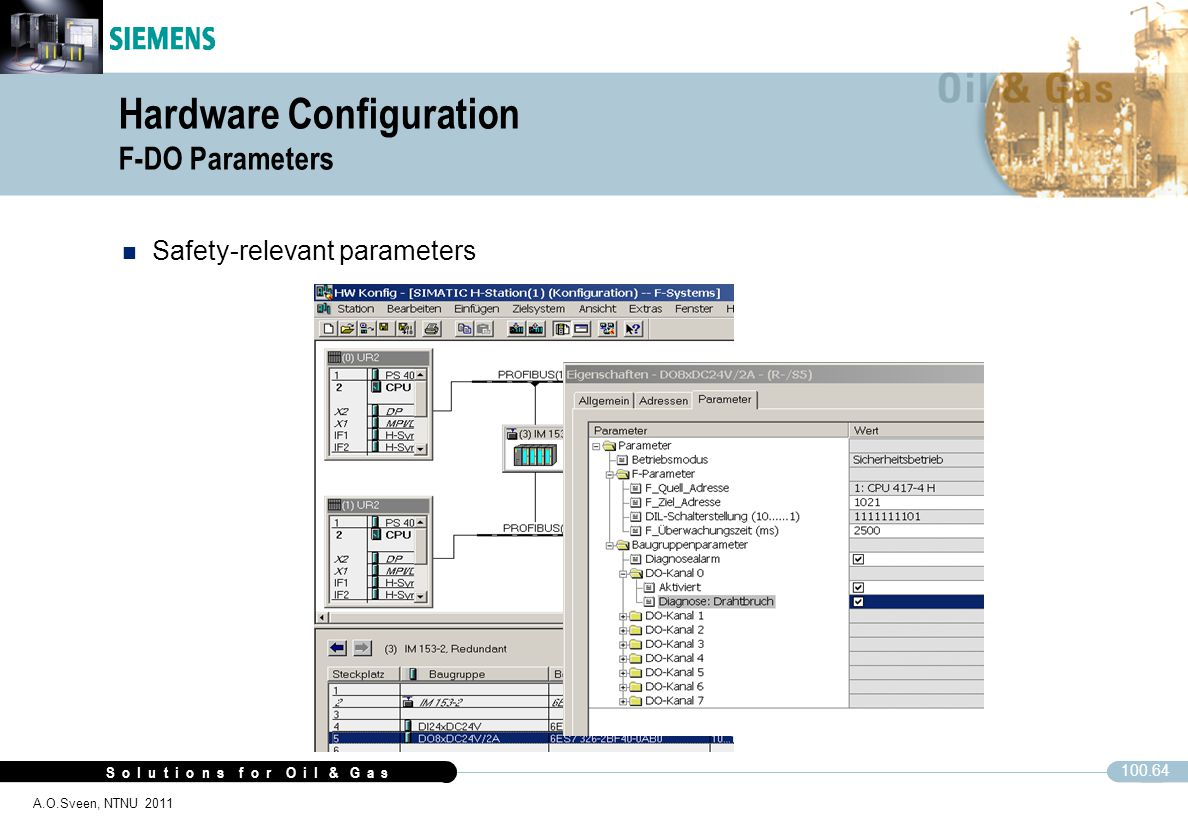 S o l u t i o n s f o r O i l & G a s 100.64 A.O.Sveen, NTNU 2011 Hardware Configuration F-DO Parameters n Safety-relevant parameters