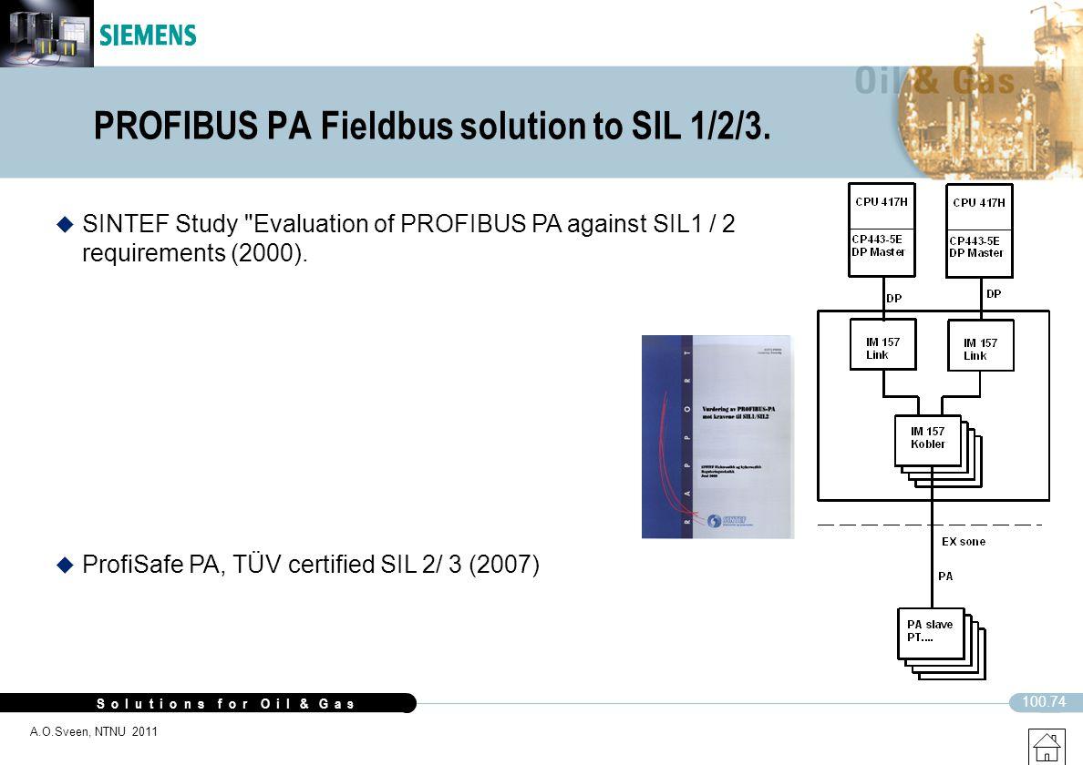 S o l u t i o n s f o r O i l & G a s 100.74 A.O.Sveen, NTNU 2011 PROFIBUS PA Fieldbus solution to SIL 1/2/3. u ProfiSafe PA, TÜV certified SIL 2/ 3 (