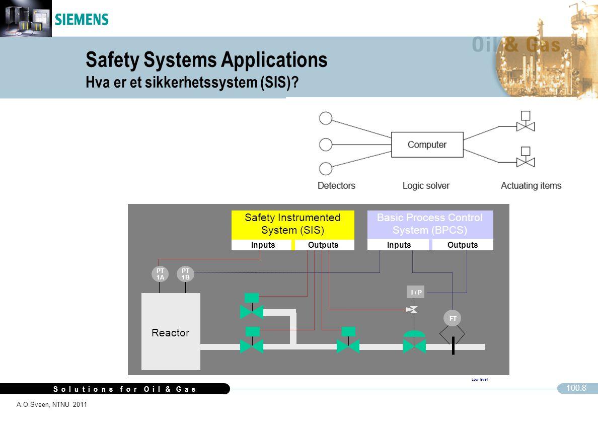S o l u t i o n s f o r O i l & G a s 100.8 A.O.Sveen, NTNU 2011 Safety Systems Applications Hva er et sikkerhetssystem (SIS)? Low level I / P Reactor