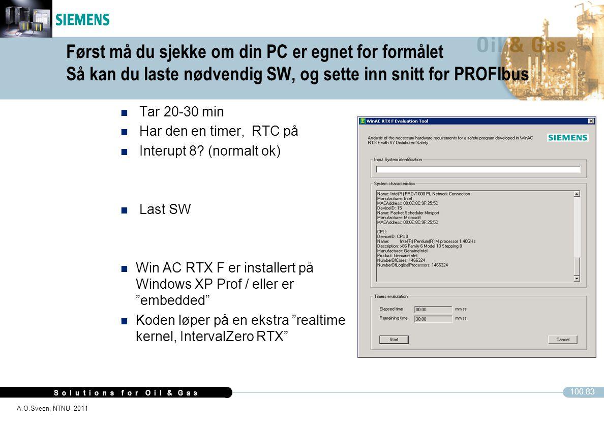 S o l u t i o n s f o r O i l & G a s 100.83 A.O.Sveen, NTNU 2011 Først må du sjekke om din PC er egnet for formålet Så kan du laste nødvendig SW, og