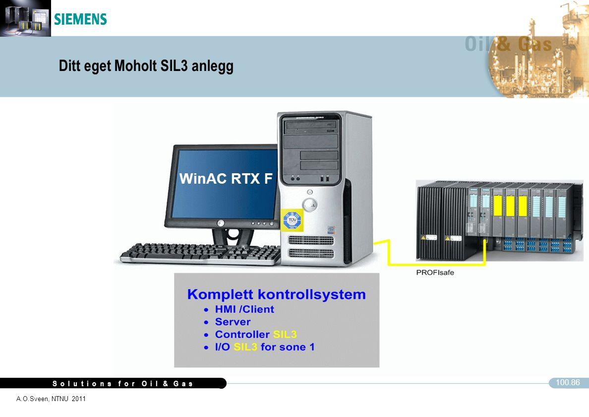 S o l u t i o n s f o r O i l & G a s 100.86 A.O.Sveen, NTNU 2011 WinAC RTX F Ditt eget Moholt SIL3 anlegg