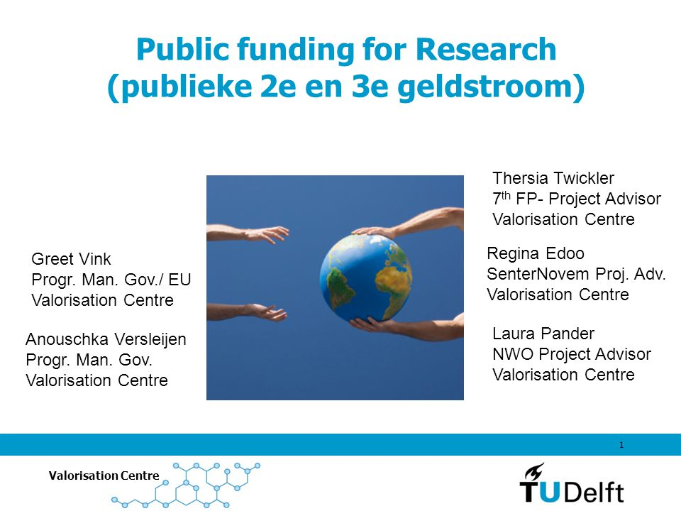 Valorisation Centre 1 Public funding for Research (publieke 2e en 3e geldstroom) Laura Pander NWO Project Advisor Valorisation Centre Anouschka Versleijen Progr.