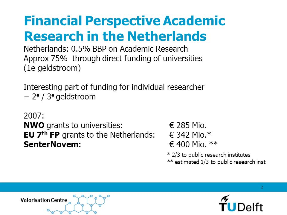 Valorisation Centre 2 Financial Perspective Academic Research in the Netherlands Netherlands: 0.5% BBP on Academic Research Approx 75% through direct funding of universities (1e geldstroom) Interesting part of funding for individual researcher = 2 e / 3 e geldstroom 2007: NWO grants to universities: € 285 Mio.