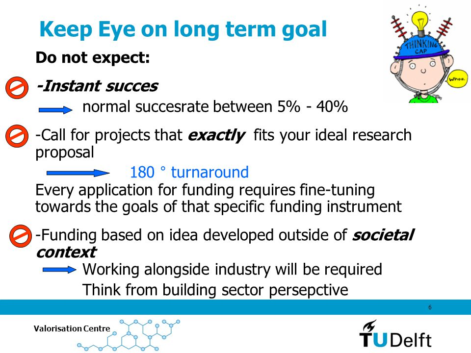 Valorisation Centre 6 Keep Eye on long term goal Do not expect: -Instant succes normal succesrate between 5% - 40% -Call for projects that exactly fits your ideal research proposal 180 ° turnaround Every application for funding requires fine-tuning towards the goals of that specific funding instrument -Funding based on idea developed outside of societal context Working alongside industry will be required Think from building sector persepctive