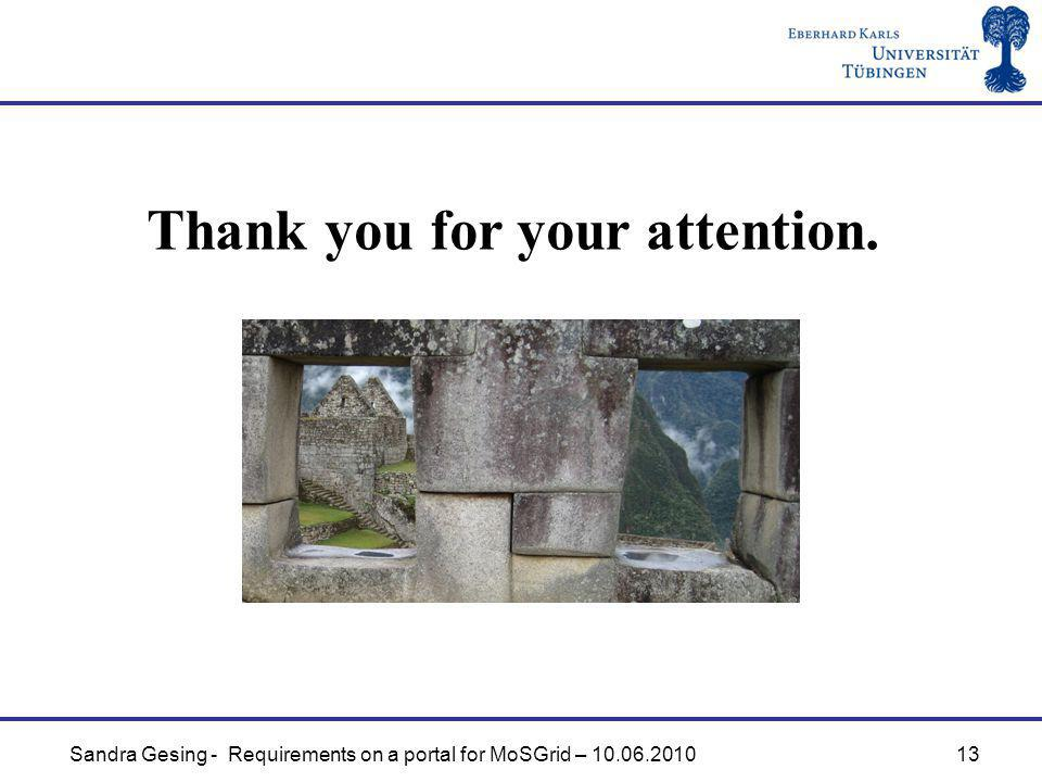 Sandra Gesing - Requirements on a portal for MoSGrid – Thank you for your attention.