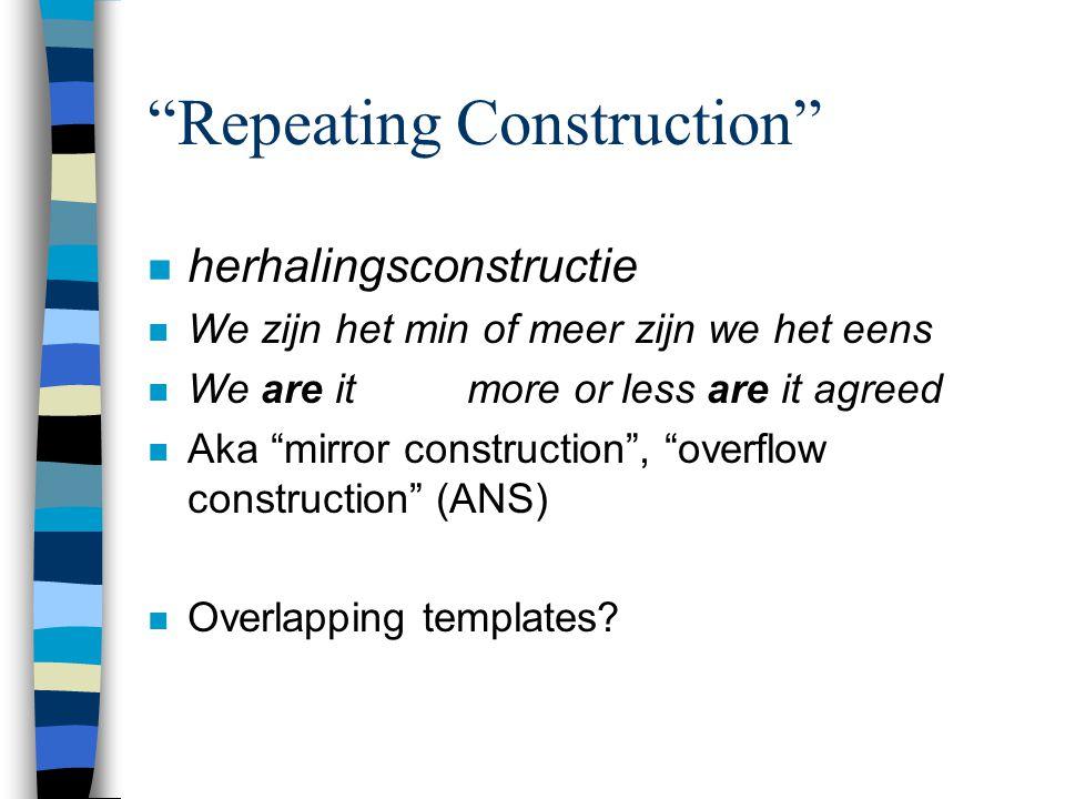 """""""Repeating Construction"""" n herhalingsconstructie n We zijn het min of meer zijn we het eens n We are it more or less are it agreed n Aka """"mirror const"""