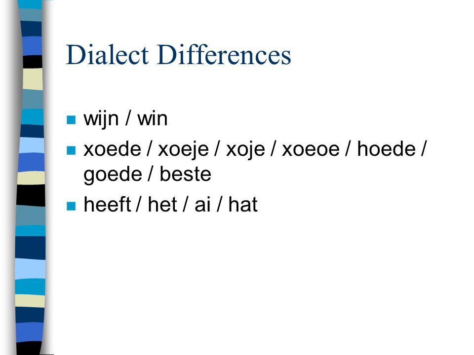 Dialect Differences n wijn / win n xoede / xoeje / xoje / xoeoe / hoede / goede / beste n heeft / het / ai / hat