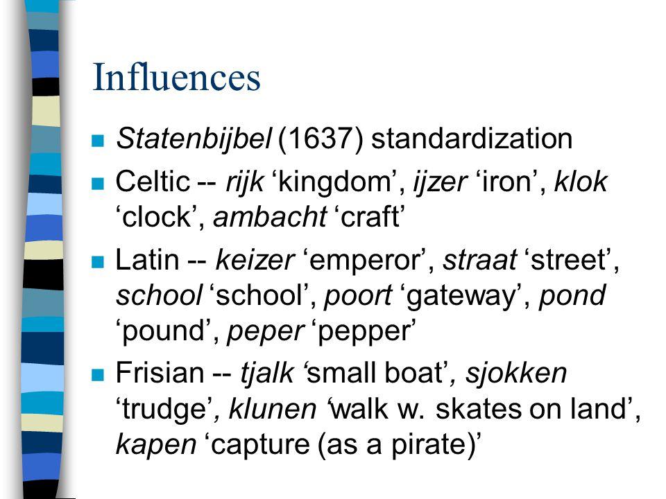 Influences n Statenbijbel (1637) standardization n Celtic -- rijk 'kingdom', ijzer 'iron', klok 'clock', ambacht 'craft' n Latin -- keizer 'emperor',