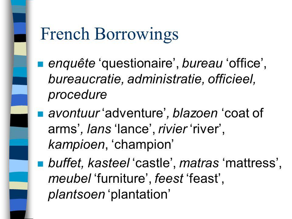 French Borrowings n enquête 'questionaire', bureau 'office', bureaucratie, administratie, officieel, procedure n avontuur 'adventure', blazoen 'coat o