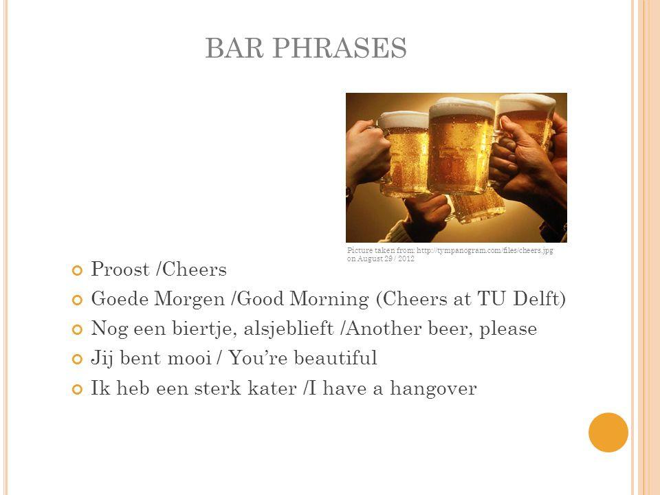 BAR PHRASES Proost /Cheers Goede Morgen /Good Morning (Cheers at TU Delft) Nog een biertje, alsjeblieft /Another beer, please Jij bent mooi / You're beautiful Ik heb een sterk kater /I have a hangover Picture taken from: http://tympanogram.com/files/cheers.jpg on August 29 / 2012