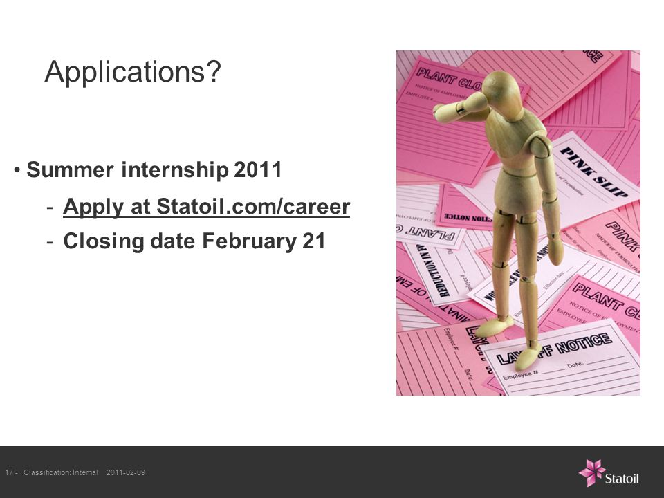 17 -Classification: Internal 2011-02-09 Applications.