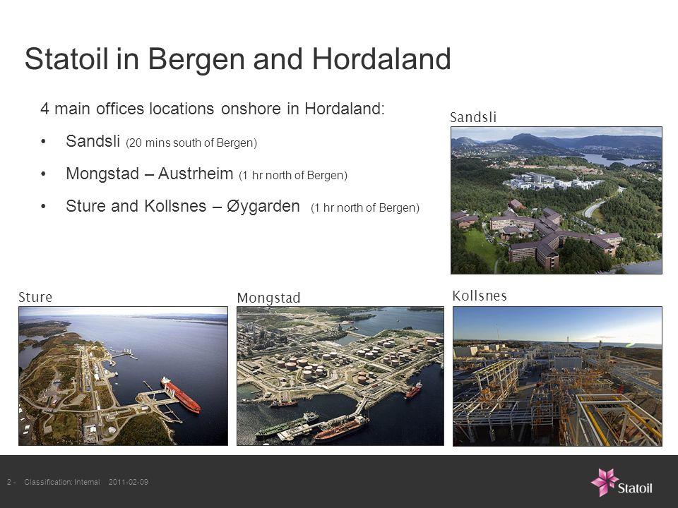 2 -Classification: Internal 2011-02-09 Statoil in Bergen and Hordaland Sture Sandsli Mongstad Kollsnes 4 main offices locations onshore in Hordaland: Sandsli (20 mins south of Bergen) Mongstad – Austrheim (1 hr north of Bergen) Sture and Kollsnes – Øygarden (1 hr north of Bergen)
