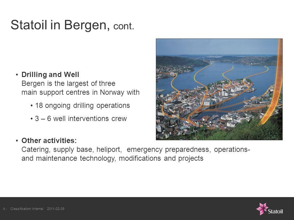 4 -Classification: Internal 2011-02-09 Statoil in Bergen, cont.
